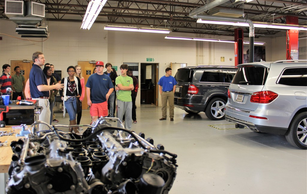 Hillcrest students learn about the mechatronics training partnership with Mercedes-Benz at Shelton State Community College.